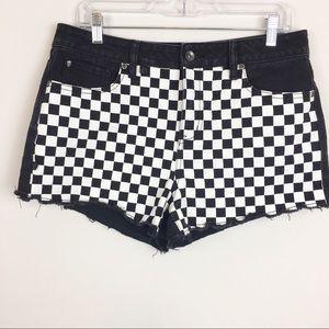 Pants - Blackheart High Rise Checkered Cut Off Shorts
